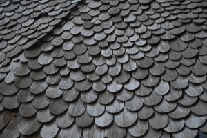 wood shingles on roof of old house